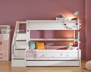 Lifetime Kidsroom Family Bunk Bed With Storage Ladder in whitewash bed frame